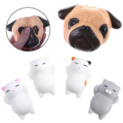 Eshylala 1 Pcs Kawaii Squishy Dog Face Bread With 4pcs Fun Face Sleeping Cat Squishies,Soft Slow Rising Gift Hand Pillow Toys Stress Relief Toys