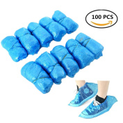 Disposable Shoes Covers, Plastic Waterproof Overshoes Covers Non-Slip Boot Shoes Protector Bag Covers Floor Carpet Protecting 100pcs - Blue