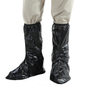 Black Waterproof Shoe Covers Anti Slip Overshoes Rain Boots Portable Wellies with Zippered Elastic Band and Reflective Heel for Motorcycle Bike Riding Gardening Festivals, Men Size XL, UK 9, EUR 43