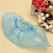 Generic 100Pcs Outdoor Disposable Blue Plastic Shoe Covers Carpet Cleaning Overshoes