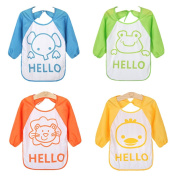 ElecMotive 4 pcs Baby Waterproof Long Sleeved Bibs Catcher Pocket Apron Smock 6 - 36 month