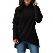 Overdose Women Sweatshirt Asymmetric Hem Hooded Pullover Top