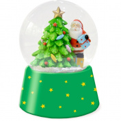Mini Snow Globe Christmas Father With Christmas Tree Green Christmas Express