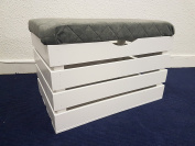 Large White Wooden Seating Bench Box Ottoman Treasure Chest Pouffee