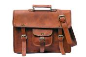 KGNExportsHouse , 38cm Satchel Laptop Leather Bag Women Men - Brown