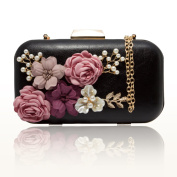 J & F Women Clutches Purses Bags Flower Leather Envelope Pearl Wallet Evening Handbag