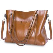 S-ZONE Women's Vintage 3-Way Genuine Leather Tote Shoulder Bag Handbag Fashion Handbag Messenger Bag