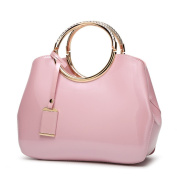 Womens Pink Handbags Ladies Top Handle Bags Patent Leather Stylish Tote Shoulder Bags Purse