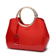 Womens Red Handbags Ladies Top Handle Bags Patent Leather Stylish Tote Shoulder Bags Purse