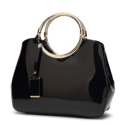 Womens Black Handbags Ladies Top Handle Bags Patent Leather Stylish Tote Shoulder Bags Purse