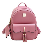 Women Vintage Tassel Backpack Handbags, Faux Leather Casual Daypack Travel Rucksack, Small School Bag for Teenage Girls