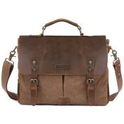 Kattee Retro Designer Mens Canvas Leather Satchel Messenger Shoulder Tote Bag Briefcase