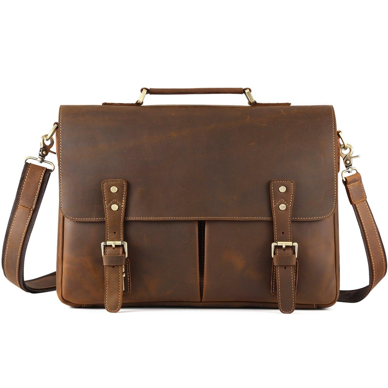 182ffe62004a Kattee Mens Leather Briefcase,38cm Laptop Messenger Satchel Shoulder Bags,  Tobacco