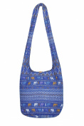 THAI HIPPIE BAG - ELEPHANT - 100% COTTON BOHO GYPSY SLING PURSE - BEACH TRAVEL SHOULDER BAG