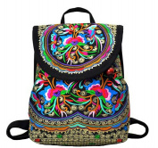 Nicetage Womens Embroidery Backpack Vintage Bags Girls Shoulder Bags Canvas Satchel Ethnic Style Rucksack