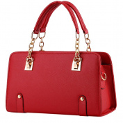 Vusum Women's Leather Handbag Zipper Hobo Satchel Toe Shoulder Bag Red