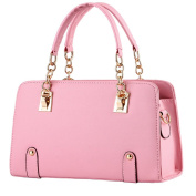 Vusum Women's Leather Handbag Zipper Hobo Satchel Toe Shoulder Bag Light Pink