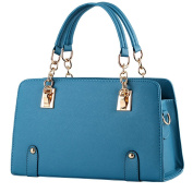 Vusum Women's Leather Handbag Zipper Hobo Satchel Toe Shoulder Bag Water Blue