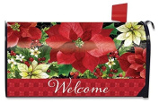 Poinsettia Welcome Christmas Large Mailbox Cover Floral Oversized