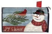 Joy to the World Snowman Christmas Mailbox Cover Primtiive Seasonal Standard