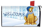 Welcome Winter Dog Magnetic Mailbox Cover Scarf and Hat Puppy Standard
