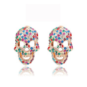 Skull Cocktail Stud Earring Pave Mix Colour Crystal Punk Jewellery Party Wear