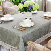 130*130cm grey blue dot lace table cloth cotton linen Japanese style Minimalist Modern dining table desk rectangular square eco-friendly cloth table covering