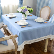 130*130cm blue solid lace table cloth cotton linen Japanese style Minimalist Modern dining table desk rectangular square eco-friendly cloth table covering