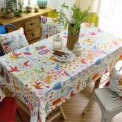 90*140CM doodle bird cartoon chill table cloth cotton linen American country dining table desk rectangular square Non-ironing eco-friendly garden table runner