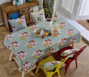 90*130cm light blue flower floral chill table cloth cotton linen American country dining table desk rectangular square Non-ironing eco-friendly garden table runner