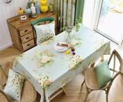 130*180cm light blue floral flower table cloth cotton linen American country dining table desk rectangular square Non-ironing eco-friendly garden table runner