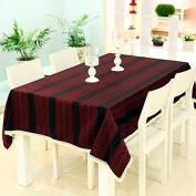 Tabgw Rectangular Tablecloth Dining Room cotton line cover cloth Garden Hotel Cafe Restaurant Home accessories streaks Red 140X140cm