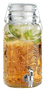 Home Essentials & Beyond vintage Embossed Lace Bail & Trigger 3.8l Beverage Dispenser, Clear