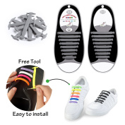 No Tie Elastic Shoelaces For Kids and Adults, Konsait Waterproff No-Tie Silicone Flat Shoe Laces Quick Bootlaces for Trainers Sneaker Casual Shoes