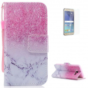 KaseHom Samsung Galaxy J710/J7 2016 Case Flip Wallet Holster [and Free Screen Protector] Pink Marble Pattern with [2 Card Slots] Magnetic Closure Unique Functional Protective Cover