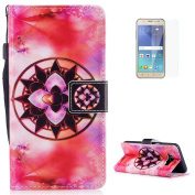 KaseHom Samsung Galaxy J510/J5 2016 Case Flip Wallet Holster [and Free Screen Protector] Mandala Pattern with [2 Card Slots] Magnetic Closure Unique Functional Protective Cover