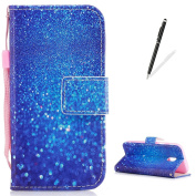 KaseHom Samsung Galaxy J330/J3 2017 Case Flip Wallet Holster [and Free Touch Stylus Pen] Blue Sparkle Pattern with [2 Card Slots] Magnetic Closure Unique Functional Protective Cover