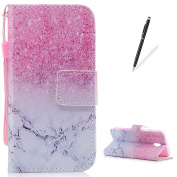 KaseHom Samsung Galaxy J330/J3 2017 Case Flip Wallet Holster [and Free Touch Stylus Pen] Pink Marble Pattern with [2 Card Slots] Magnetic Closure Unique Functional Protective Cover