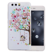 Aeeque® Huawei P10 Beautiful Pattern and Slim Fit Soft Silicone Flexible Back Bumper [Anti-scratch] Protection Phone Case for Huawei P10 2017 13cm , Colourful Tree Girl