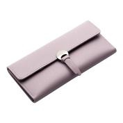 Good01 Women Trifold Clutch Bag Faux Leather Buckle Wallet Solid Colour Long Purse