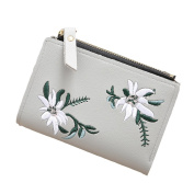 Fixuk Embroidery Flower Faux Leather Women Girl Coin Purse Card Holder Short Wallet
