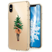 iPhone X Case,iPhone X Case Christmas,ikasus Ultra Thin Soft TPU Case,Xmas Christmas Snowflake Serie,Soft Silicone Rubber Bumper Case,Crystal Clear Soft Clear Silicone Back Case Cover for iPhone X,Girl Christmas Tree