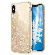 iPhone X Case,iPhone X Case Christmas,ikasus Ultra Thin Soft TPU Case,Xmas Christmas Snowflake Serie,Soft Silicone Rubber Bumper Case,Crystal Clear Soft Clear Silicone Back Case Cover for iPhone X,White Christmas Tree Snowflake
