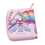 HENGSONG Cute Unicorn Pattern Short Style Purse with Zipper Pu Leather Wallet Card Holder Handbag Bags