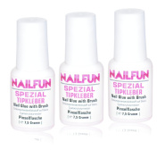 Nailfun Nail Tip Glue [Set of 3 3 x 7.5 grammes] Nail Glue Bottle with Brush for easy application.
