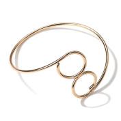 Men and Women Minimalistic Curve Metal Arm Ring, Rose Gold Bracelet, Adjustable Size