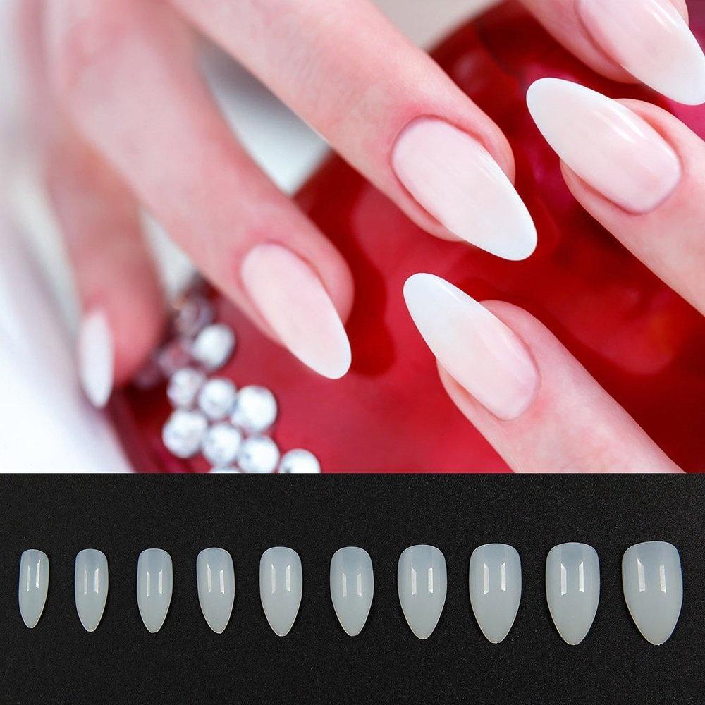 Natural - 600pcs Full Cover False Nails Natural White Clear Acrylic ...