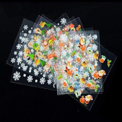 24 pcs Nail Stickers Decals Snowman Christmas Flakes
