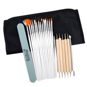 LA HAUTE 20 Pcs Nail Art Design Brush Painting Dotting Detailing Tools Kits