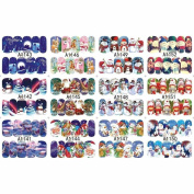 HUUATION Manicure Nail Art Stickers Decals Christmas Santa Claus Gift Xmas Hat Christmas Tree Reindeer Princess Winter Snowflakes Snowman